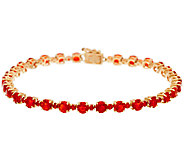 Red Fire Opal 8 Tennis Bracelet 14K Gold 4.85 cttw - J324023