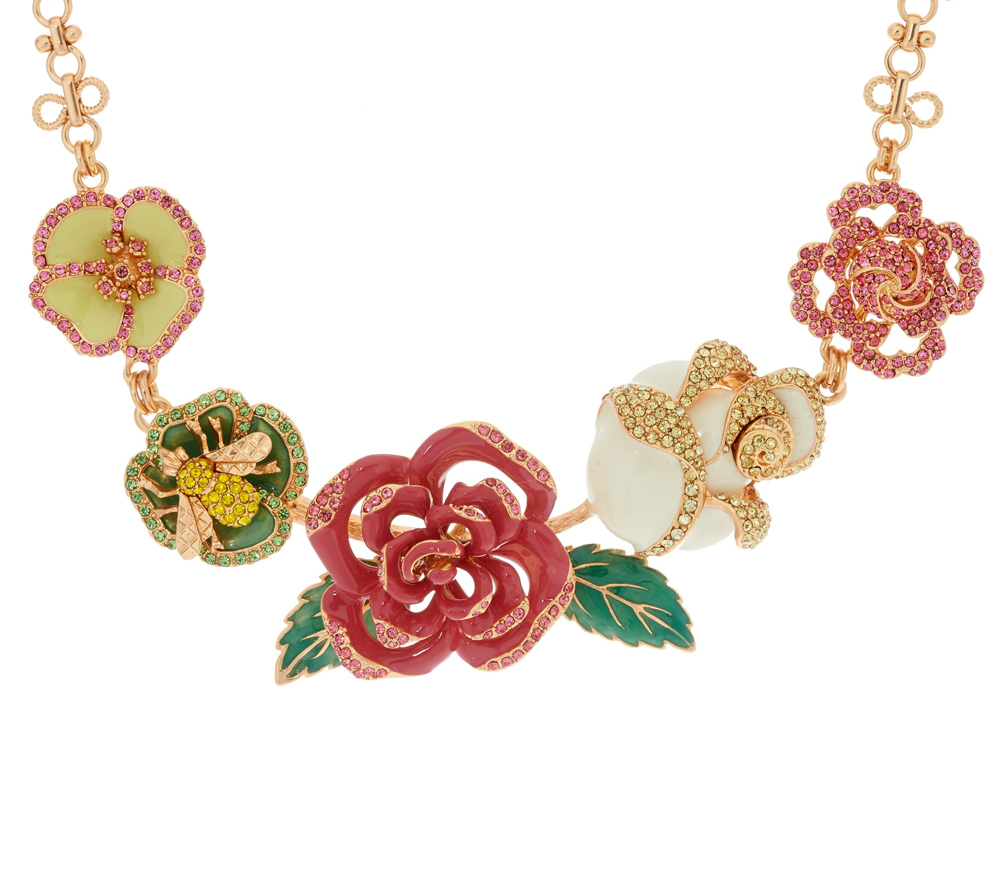 Joan rivers enamel rose garden statement necklace page 1 for Joan rivers jewelry necklaces