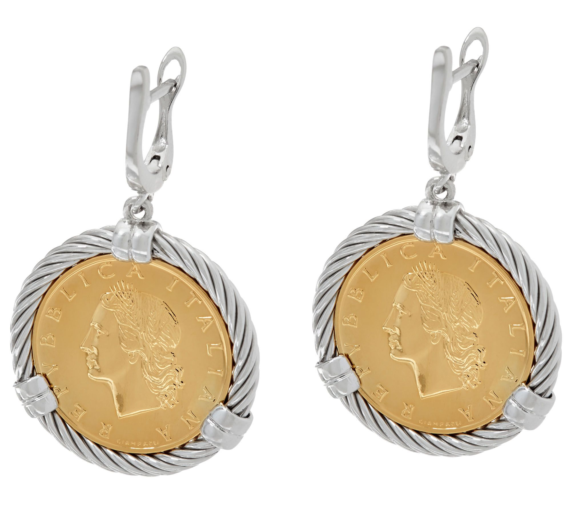 Italian Silver Sterling 20 Lire Coin Lever Back Earrings  Page 1 — Qvc