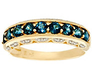 Blue Tourmaline and Diamond Band Ring 14K Gold 1.00 cttw - J329323