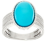 Oval Kingman Turquoise Textured Sterling Silver Ring - J329623