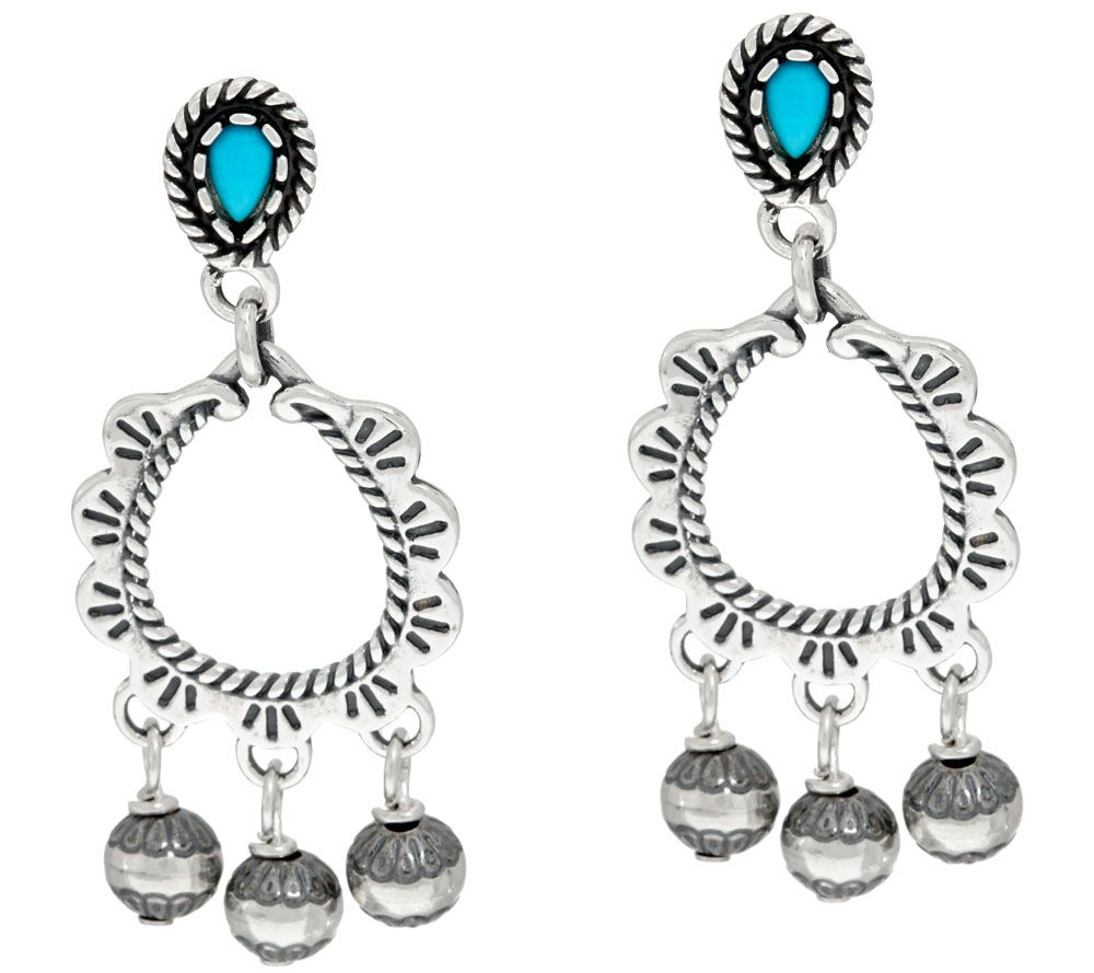 quot as is quot sleeping turquoise sterling earrings qvc