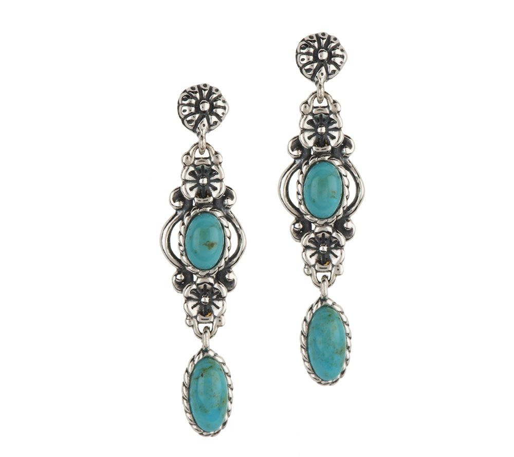 quot as is quot american west sterling turquoise drop earrings qvc