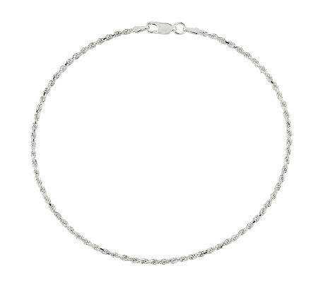 Sterling Diamond Cut Rope Chain Ankle Bracelet by Qvc