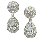 Judith Ripka Sterling Diamonique Halo Pear Drop Earrings - J336823