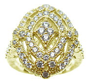 Judith Ripka Sterling and 14K Clad Diamonique O penwork Ring - J338023