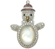 Judith Ripka Sterling Diamonique Snowman Pin - J338323