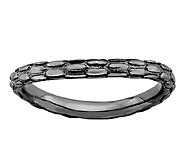 Simply Stacks Sterling & Black Plated CurvedTextured Ring - J338923