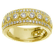 Judith Ripka Sterling 14K-Clad 1.10 cttw Diamon ique Band Ring - J339423