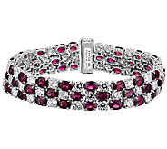 Judith Ripka Sterling 3-Row Diamonique & GarnetBracelet - J340023