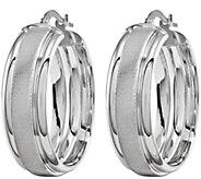 Polished and Brushed Hoop Earrings, 14K - J340423