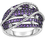 Amethyst & White Zircon Sterling Design Ring - J341323
