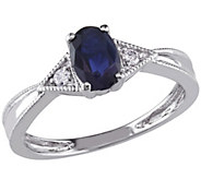 6/10 ct Sapphire & Diamond Ring, 14K White Gold, by Affinity - J341623