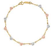 Tri-Color Diamond Cut Heart 7 Bracelet, 14K Gold - J341923