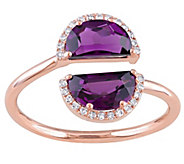 2 cttw Rhodolite and Diamond Accent Split Ring14K Rose Gold - J342523