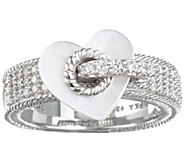 Judith Ripka Sterling Silver Pave with Heart Charm Ring - J342923