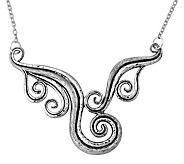 Sterling Silver Textured Swirl-Design Necklaceby Or Paz - J343023