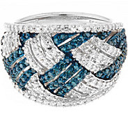 Blue & White Diamond Ring, Sterling, 1.00 cttw,by Affinity - J344123