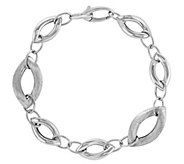 Sterling Brushed & Polished Oval Link 7-3/4 Bracelet - J344323