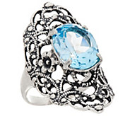 Sterling Silver 5.00 ct Blue Topaz Filigree Ring by Or Paz - J346923