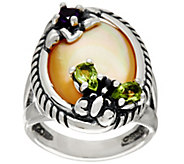 Carolyn Pollack Sterling Silver Gemstone Butterfly & Flower Ring - J347323