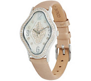 Judith Ripka Stainless Steel Leather Palm Beach Watch - J350123