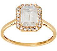 Diamonique Emerald Halo Ring, 14K Gold - J353523