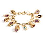 As Is Arte d Oro 36.00 cttw Gemstone Charm 8 Bracelet 18K Gold - J355923