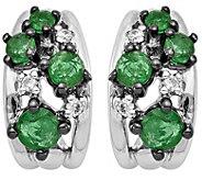 14K White Gold Gemstone & Diamond Demi Hoop Earrings - J375023