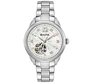Bulova Womens Stainless Diamond Automatic Movement Watch - J375123