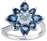 Laura Ashley Sterling 3.15 cttw Blue Topaz & Diamond Ring - J376123
