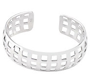 Sterling Polished Waffle Cut Cuff Bangle Bracelet - J112824