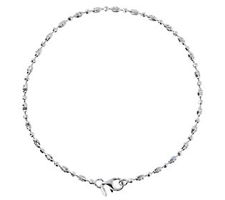 "UltraFine Silver 10"" Diamond-Cut Bead Anklet"