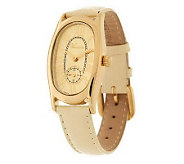As Is Veronese 18K Clad Oval Case Pebble Strap Watch - J286224