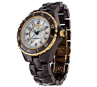 Isaac Mizrahi Live! Goldtone Ceramic Link Watch - J291024 ...