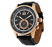 Bronze Bold Round Sub-Dial Leather Strap Watch by Bronzo Italia - J292324