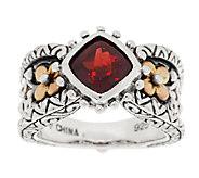 Barbara Bixby Sterling & 18K Cushion Cut Gemstone Ring - J292524