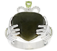 Connemara Marble and Sterling Silver Claddagh Ring w/Peridot - J295424