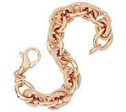 Bronze Solid Textured Double Rolo Link Bracelet by Bronzo Italia - J296324