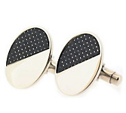 Forza Mens Steel and Black Oval Cuff links - J297224