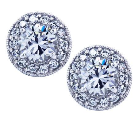 diamonique sterling halo stud earrings qvc