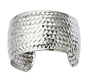 Stainless Steel Textured Woven Cuff - J312024