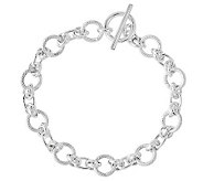 Sterling 7-1/2 Polished & Textured Link ToggleBracelet - J314724