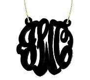 1-1/2 Acrylic Script Monogram Necklace, 24K Plated Sterling - J315224