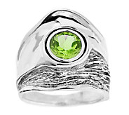 Hagit Sterling Textured and Polished Gemstone Ring - J316924