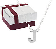 Silver Style Sterling Polished Initial Pendant w/ Gift Box - J317824