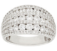 Diamonique 7-Row Dome Ring, Sterling - J318024