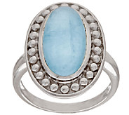 Sterling Silver Milky Aquamarine Elongated Ring - J320324