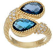Judith Ripka Sterling & 14K Clad 3.90 cttw London Blue Topaz Ring - J320724