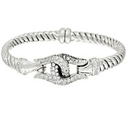 Scott Kay Sterling Silver Diamonique Guardian Flex Cuff - J321124